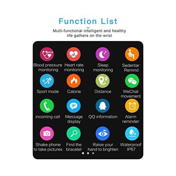 Pulsera inteligente con monitor de actividad física, pantalla de color A6, Bluetooth, monitor de ritmo cardíaco, podómetro, pulsera inteligente para niños, mujeres y hombres azul 6