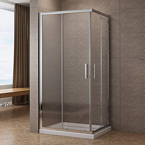 Duschkabine 90 x 90cm Eckeinstieg Schiebetür Duschabtrennung Duschwand 6mm ESG Sicherheitsglas Höhe 185cm klar