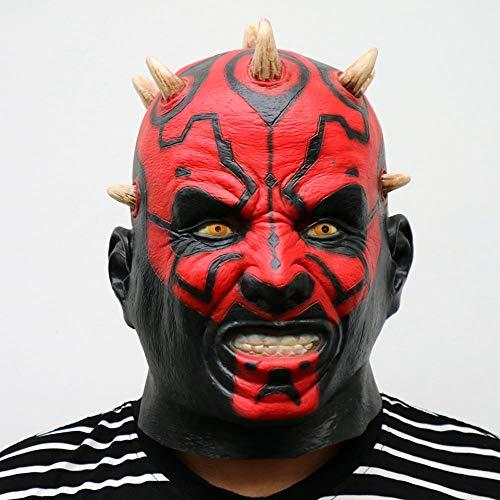XDDXIAO Latex Star Wars Film Darth Maul Maske Voller Kopf Scary Horror Halloween Kopf Maske Für Kostüm Cosplay Party Ball - Darth Maul Kostüm Maske