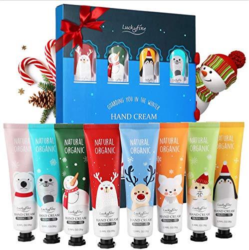 Luckyfine Crema de Manos, Set de Regalo de Crema de Manos, 8 x Crema de Manos Nutritiva con Vitamina C y E, Hidratante e Hidratante para Manos Secas Sets de Regalo Ideales para Mujeres