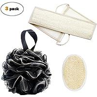 Esponja de ducha para baño Loofahs 55g y esponja exfoliante lumbar Loofah con doble correa de fregado lateral y almohadilla de esponja para hombres y mujeres