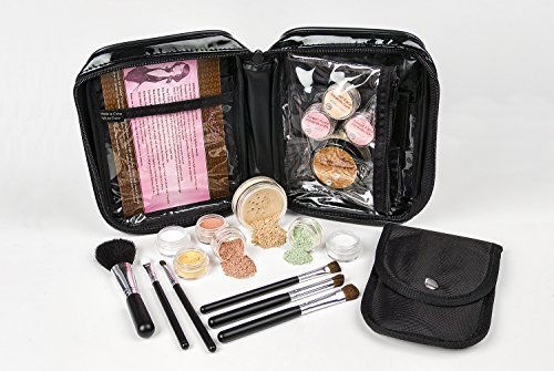 Mineral-make-up-kits (15 pc. STARTER KIT Mineral Makeup Set Bare Skin Cover Powder Foundation (Warm Neutral-most popular) by Sweet Face Minerals)