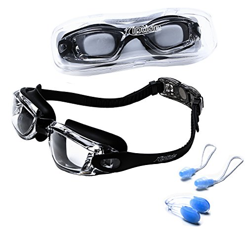 riptide Schwimmbrille in schwarz - Taucherbrille mit Aufbewahrungsbox, Nasenklemme und Ohrenstöpsel...