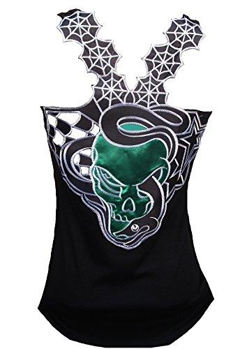 Rockabilly Punk Rock Baby Damen Designer Tank Top Shirt Snake Gothic Skull schwarz Tattoo Design L 40 (Skull Tattoos Snake)