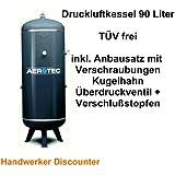 Druckluftbehälter - Druckluftkessel 90 Liter stehend, TÜV frei inkl. kompletten Amaturen