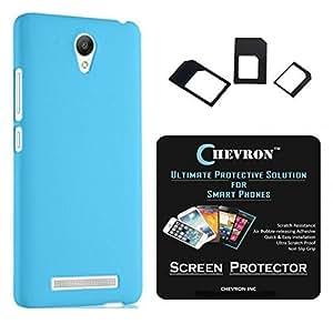 Chevron Rubberized Matte Finish Back Cover Case for Xiaomi RedMi Note 2 Prime with HD Screen Guard & Multi Sim Adapter (Aqua Blue)