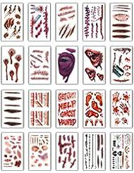 20 Feuilles Halloween Tatouages Temporaires Halloween Zombie Scars Tatouages Autocollants avec Fake Scab Blood Spécial Fx Costume Maquillage Props