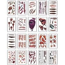 I tatuaggi temporanei (20 fogli) - Halloween Zombie Scars tatuaggi adesivi  con falsi Scab 99367ef601e1