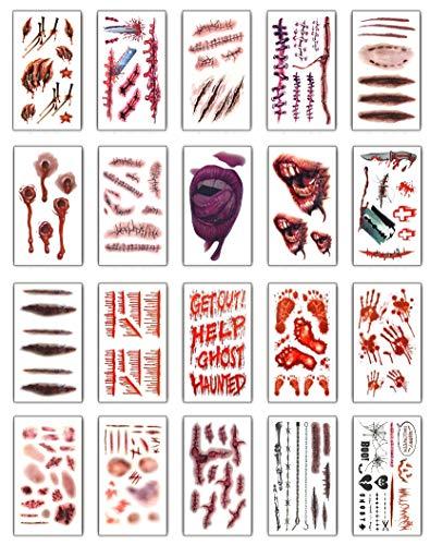 I tatuaggi temporanei (20 fogli) - halloween zombie scars tatuaggi adesivi con falsi scab sangue costume speciale fx puntelli di trucco (20 modelli differenti*1)