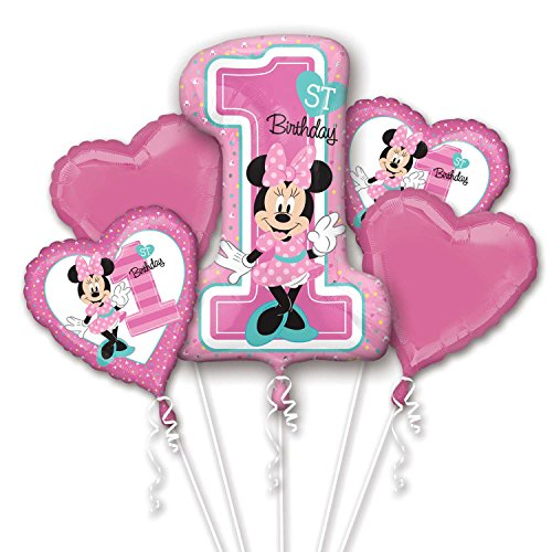 Amscan International 8.732.268,5 cm Minnie Maus Folienballon 1. Geburtstag Bouquet (Minnie Maus 1. Geburtstag Luftballons)