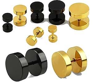 bkwear F66 2x Boucles d'oreille d'Acier 316L Noir 8 mm Faux Ecarteur Plug - Convient pour trous l'oreille normale