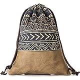 MONi Turnbeutel Rucksack Gymbag im Ethnic Design mit verstärktem veganem Leder-Boden | Hochwertiger Hipster Beutel (Jutebeutel) mit verstellbaren Kordeln (Blau/Braun)