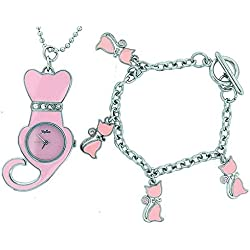 Reflex Charmed Pink Pussy Cat Watch On Ball Chain & Jewellery Set Girls/Women