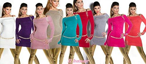 pullover lungo / mini abito koucla donna scollo carmen con strass&zip 10 colori tg unica(cintura esclusa) Zaffiro