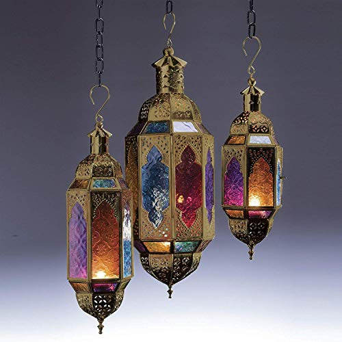 Authentische marokkanische goldene Hängelaterne im Stil großer klassischer Vintage türkischer Innenbereich Haus & Garten Farbe Glas Laterne Kerze Teelichthalter für Dekorationen, multi, M