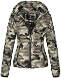 Marikoo Damen Jacke Steppjacke Übergangsjacke mit Kapuze Gesteppt B600 [B600-Samt-Army-Grey-Gr.XXL]