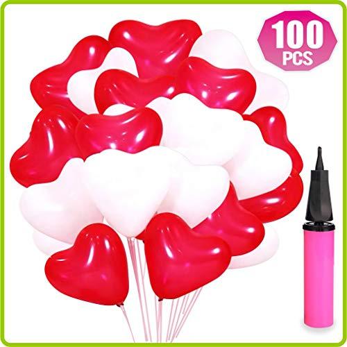Cuckool Luftballons Hochzeit, 100 Herzluftballons Hochzeit - Luftballons Herz ROT WEIßE, Herzballons Für Helium, Luftballons mit Herzen-mit Pumpe, Geburtstag Dekoration Party Zubehör
