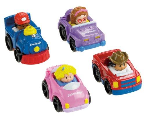 Fisher-Price-V1626-Fahrzeug Miniatur-Pack 4Fahrzeuge Wheelies Little People-Thema Baustelle