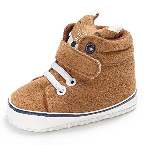 FNKDOR Baby Mädchen Jungen Fuchs Lauflernschuhe Rutschfest Canvas Schuhe Stiefel (6-12 Monate, Kaki)
