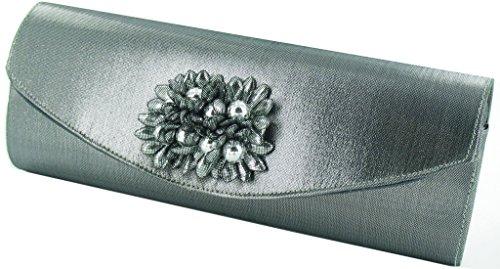Daisy - Effetto Clutch Floreale Con Tessuto E Perle Grigio Metallizzato