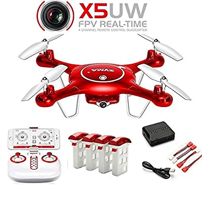 CreaTion Syma X5UW Wifi FPV 720P HD Camera Quadcopter Drone with Flight Plan Route App Control & Altitude Hold Function including 4PCS 3.7V 500mAh Lipo Battery and 4 in 1 charger