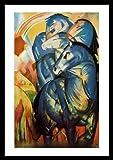 Franz Marc Der Turm der blauen Pferde Poster Kunstdruck Bild im Alu Rahmen schwarz 66x86cm - Germanposters