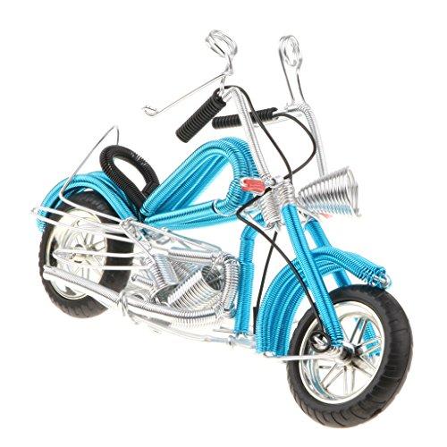 Homyl Modelo de Moto en Miniatura Vintaje Motocross Artesanal Juguete Divertido para Niños - Azul