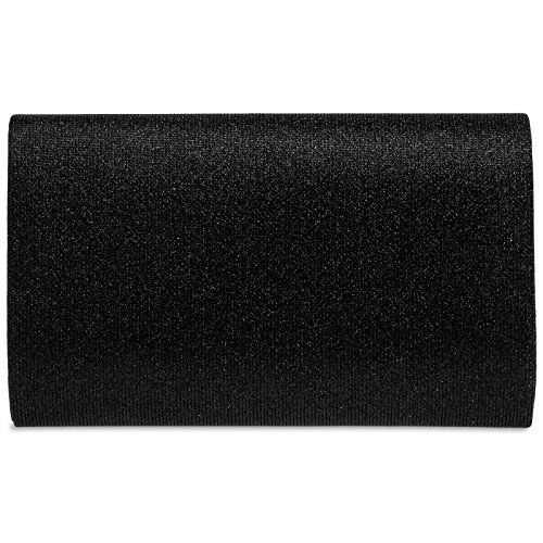 CASPAR TA400 Damen elegante Glitzer Stoff Envelope Clutch Tasche / Abendtasche mit langer Kette Schwarz