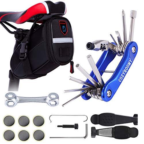 COZYROOMY Fahrrad Set Reparatur - Satteltaschen Fahrradwerkzeuge Set mit Fahhradtasche und Fahrrad Multitool, Kettenwerkzeug Fahrrad reifenwerkzeug