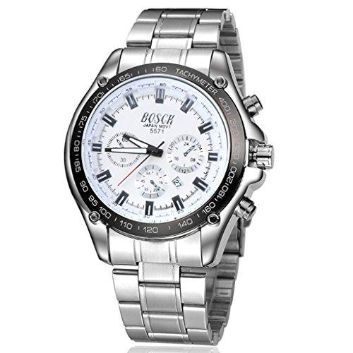 Unendlich U Fashion Sport Herren Armbanduhr Weiß Zifferblatt mit Kalender Chronograph Edelstahl Armband Wasserdicht Analog Quarz Uhr