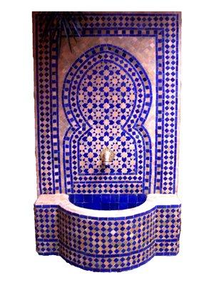 Marokkanischer Orientalischer ORIGINAL Mosaik Gartenbrunnen Brunnen Mosaikbrunnen Zimmerbrunnen Inklusive Pumpe Sevilla Blau - 135cm