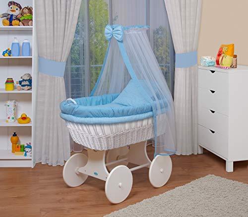 Waldin culla con cappotta,culla con ruote xxl,in 18 varianti,telaio/ruote laccato in bianco,colore tessile blu/a quadri