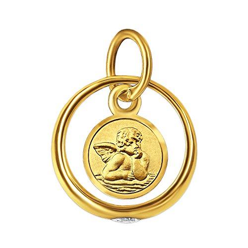 CLEVER SCHMUCK Set Goldener Kleiner Taufring Engel rund mit Zirkoniastein glänzend und Kette Weitpanzer 34 cm, beides 333 Gold 8 Karat im Etui - 2