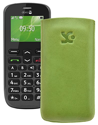 Original Suncase Tasche für / Doro PhoneEasy 508 / Leder Etui Handytasche Ledertasche Schutzhülle Case Hülle *Lasche mit Rückzugfunktion* grün