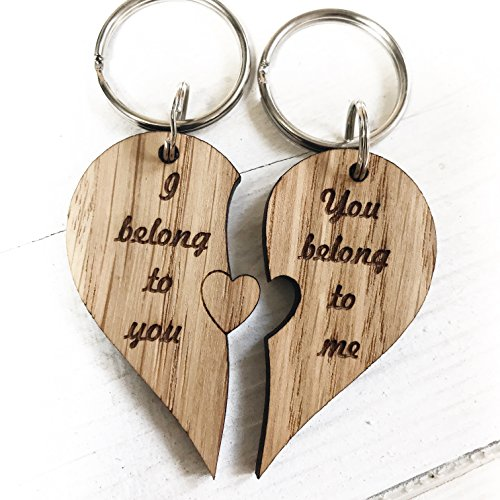 I Love You Heart Couple Key Chain Ring Keyring Lover Gift Engraved - Perfect for Valentine's Day, Wedding, Anniversary, Birthday, Christmas, Couples