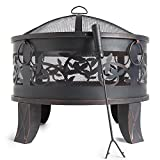 VonHaus Steel Fire Pit with Spark Guard & Poker – Decorative Garden Brazier Bowl for Log & Charcoal Patio Heating
