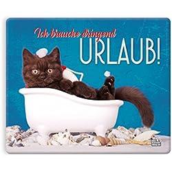 """Witziges Mauspad, Mousepad 23 x 19 cm, mit Motiv, Katze in Badewanne """"Ich brauche dringend Urlaub!"""""""