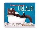 Witziges Mauspad, Mousepad 23 x 19 cm, mit Motiv, Katze in Badewanne