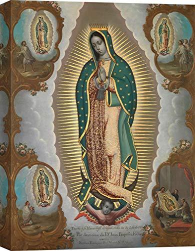 Art Print Cafe - Cuadro religioso en Canvas - Nicolás Enríquez, Virgen de Guadalupe con Las Cuatro apariciones - Impresion sobre Lienzo 120x90 cm