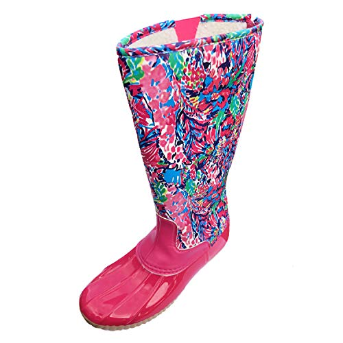 MONOBLANKS Lilly Inspired Printed Tall Duck Boots, Women Warm Snow High Duck Rain Boots,Warm Cotton Lined Zipper Boots