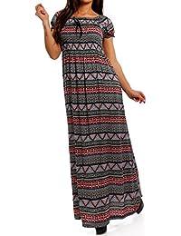 af78d7e8f3e3 Young-Fashion Maxi-Kleid Carmen kurzarm und mit Ausschnitt - Als stylisches  Strand-Kleid oder Party-Kleid…