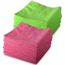 10 Pink & 10 Green Microfibre Genuine Exel Brand Magic Cleaning Cloths. Chemical Free Cleaning. Anti Bacterial Microfiber Cloths for Amazing Smear Free Wiping.