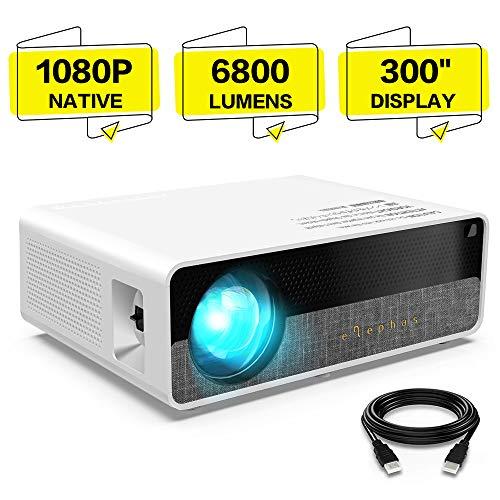 """Beamer, ELEPHAS [Native 1080P] Full HD 6800 Lumen 300"""" LCD Projektor, für Film Unterhaltung Spiele, unterstützt 2K HDMI VGA AV USB Micro SD, Weiß. MEHRWEG"""