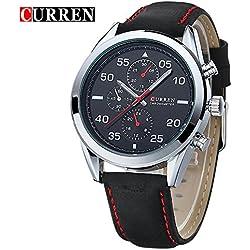 CURREN Men's Quartz Black Learther Strap Businessmen Wrist Watch 8156G