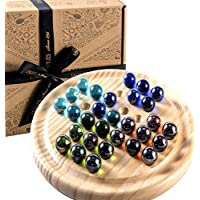 Solitaire Game - Wooden Marble Solitaire - Solid Wooden Marbles - Jaques of London Games Since 1795
