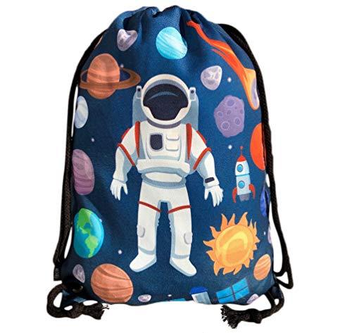HECKBO® Kinder Turnbeutel mit Astronaut Weltraum Motiven Unisex | Kindergarten, Krippe, Reise, Sport | geeignet als Gymsack, Rucksack, Spieltasche, Sportbeutel, Schuhbeutel - für Mädchen und Jungen