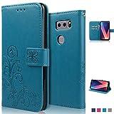 Coque LG V30, achoTREE Chanceuse Fleur Housse pour LG V30 Etui, PU &TPU + [3 × Doux Nano-Technologie Film Protecteur], Bleu 6.0 Pouces