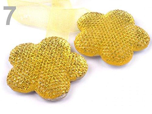 Raffhalter Vorhänge Gardinen mit Schleife blume rund 2 glitzer Effekt gelb *NEU*OVP*