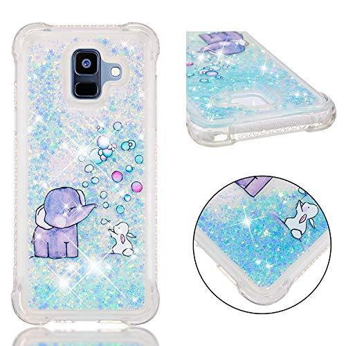 E-Mandala kompatibel mit Samsung Galaxy S9 Hülle Glitzer Flüssig Liquid Glitter Case Cover Handyhülle Schutzhülle Transparent mit Muster Durchsichtig Tasche Silikon - Blasen-Elefant -