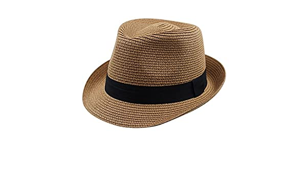 Magracy Kids Boys Straw Hat Summer Sun Protection Hat Foldable Fedora Beach Hat